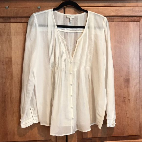 Joie Tops - JOIE Pleated sheer BOHO Blouse- Ivory
